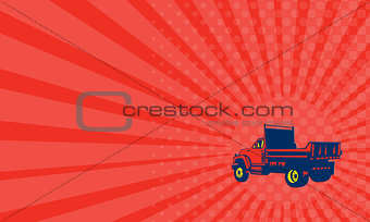 Business card Flatbed Truck Woodcut