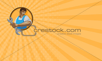 Business card Mechanic Worker Holding Spanner Circle WPA