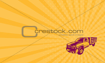 Business card Pick-up Truck Woodcut