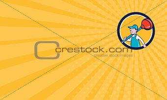Business card Plumber Carrying Plunger Walking Circle Cartoon