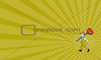 Business card Plumber Carrying Plunger Walking Isolated Cartoon