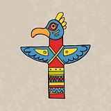 Colorful indian bird totem
