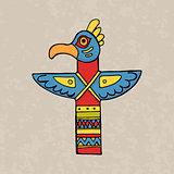 Colorful indian bird totem