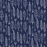 Seamless pattern with arrows and feathers