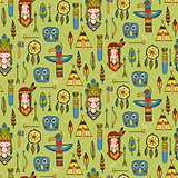 Seamless pattern with indian tribal elements.