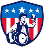 American Patriot Beer Keg Flag Crest Retro