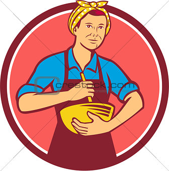 Housewife Cook Bandana Mixing Bowl Circle Retro