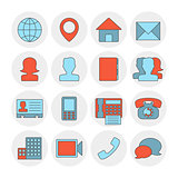 Contact outline icons flat