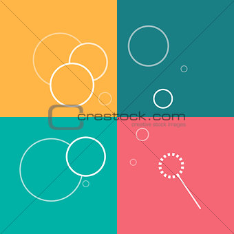 Flat vector line icons of soap bubbles on a colorful background.