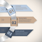 Arrow ribbons around metallic ring infographic template