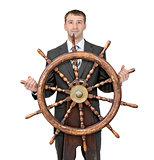Businessman with steering wheel