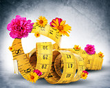Measuring tape with flowers