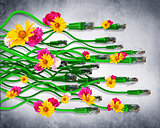Computer cables with flowers