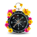 Compass with flowers