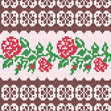 Knitted Seamless Pattern with Red Roses