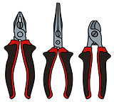 Set of red and black pliers