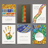 Set of vector design templates. Brochures in random colorful style. Zentangle designs.