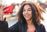 Mixed Race African American Girl Teenager Taking Selfie