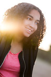 Beautiful Mixed Race African American Girl Teenager at Sunset