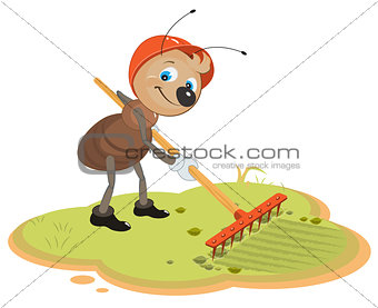 Ant Gardener with rake