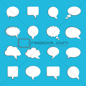 Blank empty white speech bubbles on blue