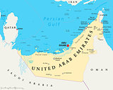 UAE United Arab Emirates Political Map