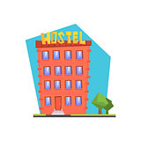 Hostel Building Flat Illustration
