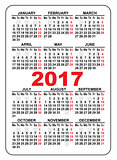 Pocket calendar 2017. First day Monday