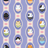 Cute cats in laced frames. Vector retro pattern polka dots and stripes.