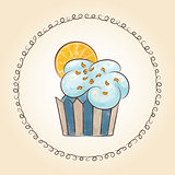Vector watercolor cupcake with orange slice. Vector illustration
