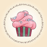 Vector watercolor cupcake with pearls. Vector illustration