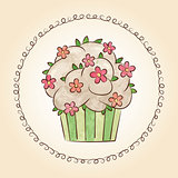 Vector watercolor cupcake with flowers and leaves. Vector illustration