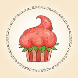 Vector watercolor cupcake look like strawberry. Vector illustration