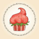 Vector watercolor cupcake look like strawberry. Vector illustration