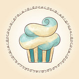 Vector watercolor waved cupcake. Vector illustration