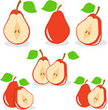 Pear, vector, red pears