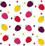 Raspberries seamless pattern. Vector illustration.