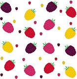 Raspberries seamless pattern. Vector illustration.