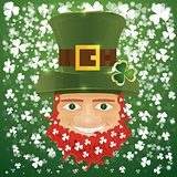 Portrait of Leprechaun. Irish man with clover leaves and hat. St