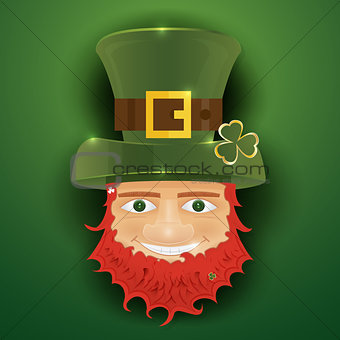 Portrait of Leprechaun. Irish man with clover leaf and hat. St.
