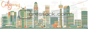 Abstract Calgary skyline with Color buildings.
