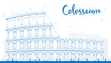 Outline Colosseum in Rome. Italy. Vector illustration.