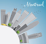 Montreal skyline with grey buildings, blue sky and copy space.