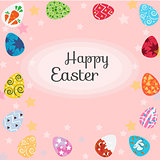 Happy Easter with eggs, card