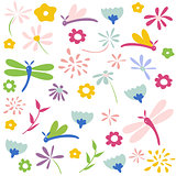 dragonfly seamless floral pattern