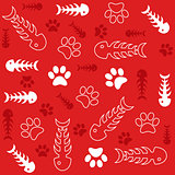 Seamless vector background with fish bones and cat's paws on red
