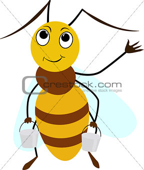 Bee cartoon smiling with two buckets
