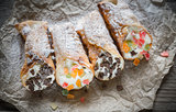 Cannoli stuffed with cream cheese