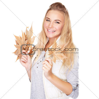 Beautiful woman with autumn bouquet