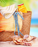 Still life of beach items